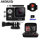 Action Camera ,AEDILYS 4K HD Action Camera ,Wrist 2.4G Wireless RF Remote Control , WiFi 2inch 170° Sports Video, lens Helmet go waterproof pro camera +32GB Card+Camera Bag -Black