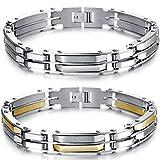 JewelryWe ジュエリー ファッションアクセサリ 2pcs メンズ ステンレス 重い チェーン バングル シンプル モザイク スムース チェーン リストバンド ブレスレット カラー:ゴールド(金); シルバー(銀);[ギフトバッグを提供]