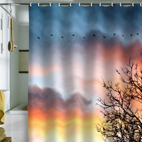 DENY Designs Bird Wanna Whistle Bird Line Shower Curtain, 69 by 72-Inch