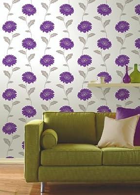 Gerbera Floral Print Luxury Vinyl Wallpaper Natural Flower Leaf 10m Roll Art from FINE DECOR