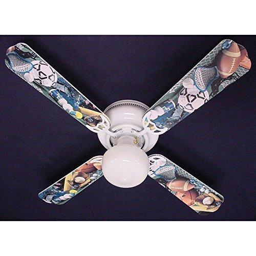 Ceiling Fan Designers Ceiling Fan, Soccer Football Baseball Sports, 42