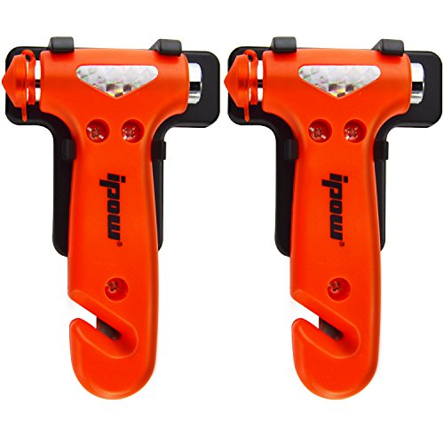 2 PCS of IPOW Car Safety Antiskid Hammer Seatbelt Cutter Emergency Class/Window Punch Breaker Auto Rescue Disaster Escape Life-Saving Hammer Tool,Small (Small Glass Window compare prices)