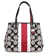 Hot Sale Coach Hampton Signature Stripe Large Tote - Black & Cherry Stripe