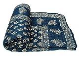 Rajkruti pure cotton Dark blue jaipuri razai / rajai double bed cotton rajasthani sanganeri floral print quilt blanket with 100% cotton inner material (90 Inches x 104 Inches,QT019)