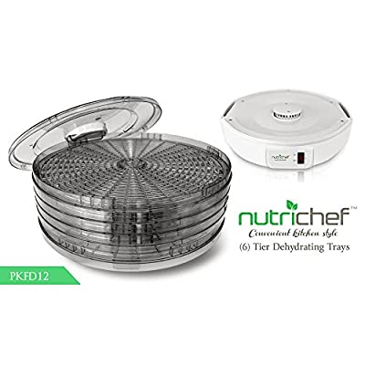 NutriChef Kitchen Electric Countertop Food Dehydrator, Food Preserver, White