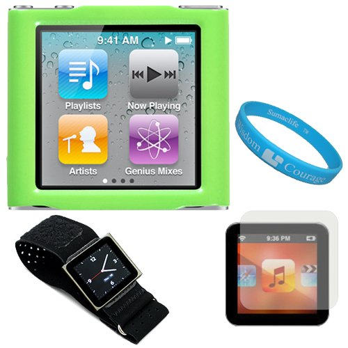 Green Hard Shell Protective Snap On Cover Case for Apple iPod Nano Touch 6th