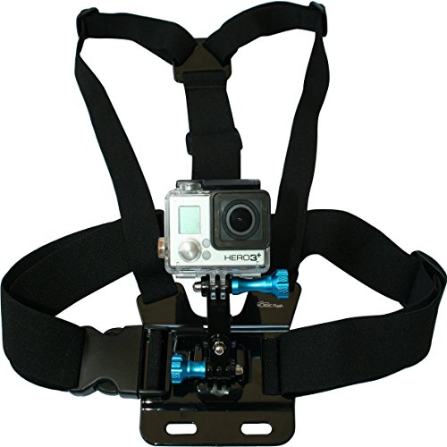 Nordic Flash Chest Mount Harness Adjustable Body Strap Rig with 3-Way Adjustment Base and Aluminum Thumbscrew Kit for GoPro Cameras, Black (Shot Ski Bracket compare prices)