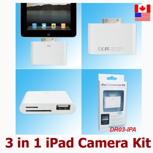 New 3 in 1 iPad 2 Camera Connection Kit Adapter - Directly Import Photos Videos to iPad iPad 2 w Camera USB Cable or SD Card - Compatible with iOS4.2.1 4.3.1 & latest versions