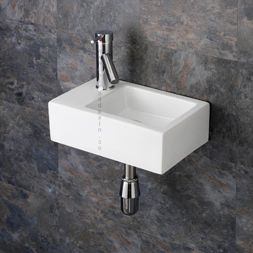 Superb Clickbasin Taranto cm X cm Wall Mounted Left Handed Rectangular Sink
