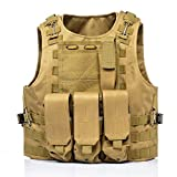 Invenko Tactical Molle Airsoft Vest Paintball Combat Soft Vest Tan (Color: black)
