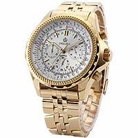 Orkina Mens White Dial 6 Hands Golden Strap Sport Quartz Wrist Watch Gift ORK096