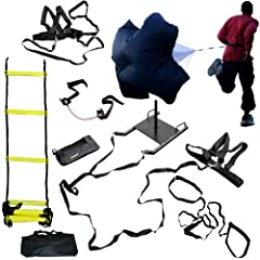 CROSS TRAINING BUNDLE KIT (6 PC SET)- 20 FT Agility Ladder, XL Resistance Parachute,... by Bluedot Trading