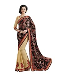 Alluring Black And Beige Brasso Saree With Blouse
