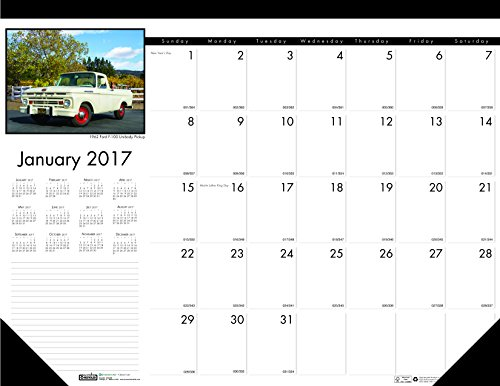 House of Doolittle 2017 Monthly Desk Pad Calendar, Earthscapes Classic Cars, 22 x 17