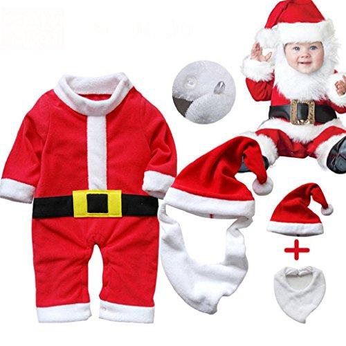 Leewa Unisex Cotton Blend Infant Santa Claus Suit Set - 1 PCS Bib + 1 PCS Santa Claus Hat + 1 PCS Santa Claus Suit (90CM)