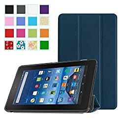 BMOUO Fire 7 2015 Case - Ultra Lightweight Slim Folding Cover Stand for Fire Tablet (7 inch Display - 5th Generation, 2015 Release Only), Navy