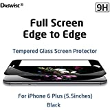 iPhone 6 Plus Screen Protector, iPhone 6S Plus Screen Protector, Daswise® 2015 Full Screen Anti-scratch Tempered Glass Protectors with Curved Edge, Cover Edge-to-Edge, Protect Your 5.5 Inches Space Gray iPhone 6 Plus/6S plus Screens from Drops & Impacts, HD Clear, Bubble-free Shockproof, 3D Touch Compatible (5.5 Black)