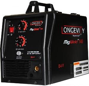 LONGEVITY Migweld 140 - 140 Amp Mig Welder Capable Of Flux-Core And Aluminum Gas Shielded Welding 110v from Longevity Global