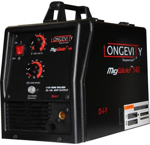 LONGEVITY Migweld 140 - 140 Amp Mig Welder Capable Of Flux-Core And Aluminum Gas Shielded Welding 110v