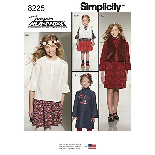 Simplicity Creative Patterns US8225K5 8225 Simplicity Pattern 8225 Child's & Girls' Inspired by Project Runway Sportswearpiece,,Size: K5 (7-8-10-12-14)