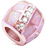 Sterling Silver Trendy! Rosegold Plated Pink Opal Cubic Zirconia Slide Charm Pendant Bead