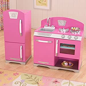 kidkraft 53306 retro kinderk che und k hlschrank rosa spielzeug. Black Bedroom Furniture Sets. Home Design Ideas