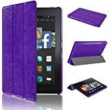 "Swees® New Amazon Kindle Fire HD 7 (4th Generation, 2014 Oct Release) 7"" Tablet Case (will not fit HDX models or 2013 generation), Smart Multi-Function Leather Case / Cover / Typing & Viewing Stand / Flip Case With Automatic Sleep/Wake Function - Purple"