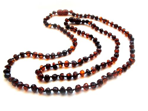 Amberta® Set of 2 Baltic Amber Necklaces for Mother and Child - Baroque Shaped Beads - Dark Cognac Colour [MS09]