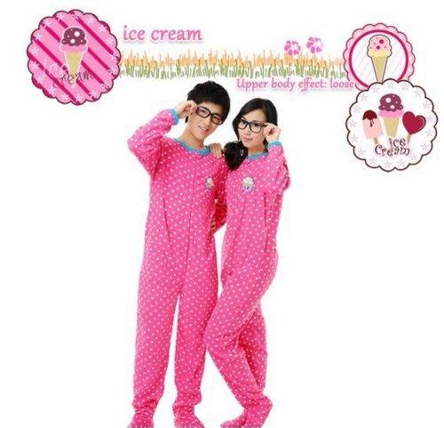 Unisex Pyjamas Footed Pajamas Ice Cream Sleepsuit Sleepwear Jumpsuit Size S front-834919
