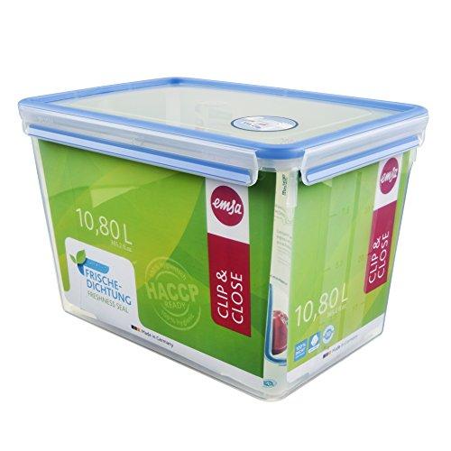 Emsa-508549-Rechteckige-Frischhaltedose-mit-Deckel-108-Liter-TransparentBlau-Clip-Close