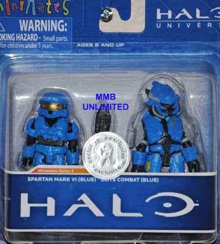 Picture of Diamond Select Halo Minimates Exclusive Series 3 Mini Figure 2Pack Spartan Mark VI (Blue) Elite Combat (Blue) (B005G1YQBW) (Halo Action Figures)