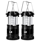 LE 2 Pack Outdoor LED Lantern Flashlights, 30 LEDs, Battery Powered, Water Resistant, Home Garden Portable Camping Lanterns for Hiking, Emergencies, Hurricanes (Black, Collapsible)
