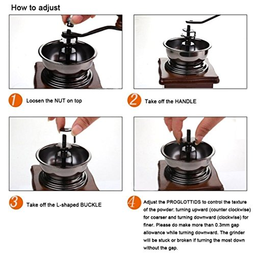 ReaLegend Wooden Manual Coffee Grinder Vintage Style Hand Coffee Mill Burr Coffee Grinder with Ceramic Hand Crank 2