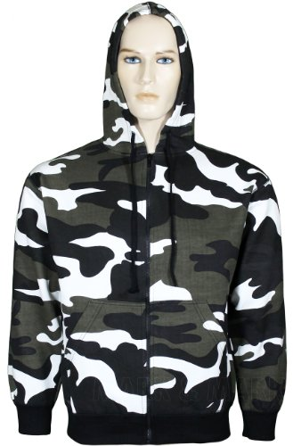 Mens Camouflage Hoodie Fleece Material Zip Up Army Print Hooded Jacket (Large, Urban)