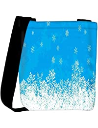 Snoogg White And Blue Abstract Designer Womens Carry Around Cross Body Tote Handbag Sling Bags