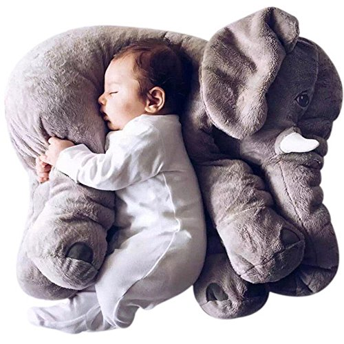 WDA Comfy Elephant Pillows Plush Stuffed Elephant Toys Baby Toys Sleeping Partner (Grey)