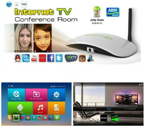 Ezmx Eye Android 4.2 Dual Core Smart Streaming Tv Box Full Hd 1080P Xbmc 1.6Ghz 1G Ddr3 8Gb 5Mp Camera And Mic Skype - Fully Loaded Tv Entertainment front-1028225