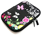 Emartbuy Midnight Butterfly Jungle Water Resistant Neoprene Soft Zip Case/Cover suitable for Amazon Kindle Touch Wi-Fi and 3G Versions ( 5-6 Inch eReader / Tablet )