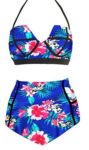 LA-PLAGE-Womens-Colorful-High-Waist-Vintage-Push-Up-Padded-Bra-swimwear