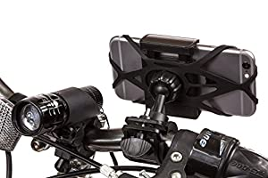 CamRah Bike Phone Mount Kit with Mounted Bicycle Light, Rear Tail Light & Accessories