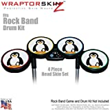Penguins on White Skin by WraptorSkinz fits Rock Band Drum Set for Nintendo Wii, XBOX 360, PS2 & PS3 (DRUMS NOT INCLUDED)