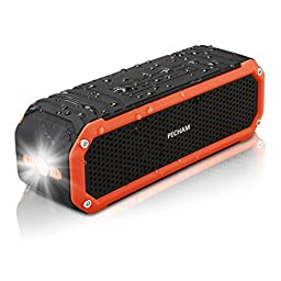 PECHAM C26 Waterproof Bluetooth Speakers Dual 5W Drivers Speaker 10 Hour Playtime, Outdoor Portable Speakers with Flashlight, Universal Compatibility for Android, iPhone and More, Orange