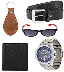Abloom Men's Multicolor Watch With Sunglasses ,Wallet Belt & Keyring (Free Size)