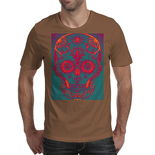 Funky Sugar Skull Mens T-Shirt Chocolate / XX-Large