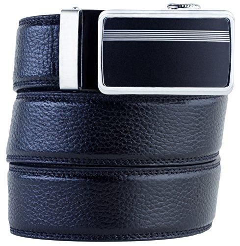 Genuine Leather Belt Black Ratchet Belt no Holes, 2 Buckles - Mens Belt, Gift Box (Designer Leather Belts compare prices)