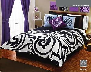 White Black Gray Comforter Duvet Sheets Bedding Set Full 12 Pcs