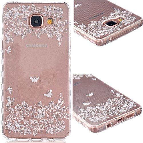 GrandEver TPU Cover per Samsung Galaxy A5(2016), UltraSlim Trasparente Morbido Gel Silicone Custodia Flexible Soft Protettivo Anti-graffio Case Copertura Disegno Bella - Fiore Farfalla Bianco