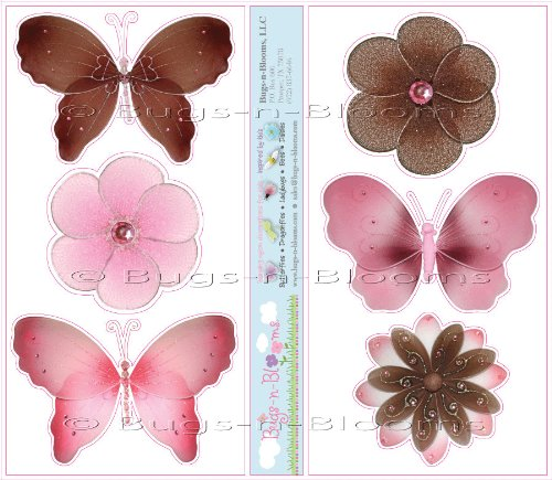 Pink & Brown Butterfly & Daisy Flower Wall Mural Stickers - butterflies flowers daisies baby nursery girls room decor baby nursery girls room decor decoration decorations sticker bedroom bathroom walls