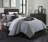 Chic Home 8 Piece Rhodes Pintuck Color Block Comforter Set, Queen, Black