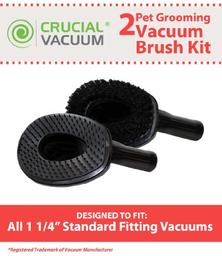 2 Vacuum Cleaner Pet Grooming Groomer Attachments, Perfect for Large Dogs & Cats, Fits 1 1/4 inch Standard Fitting Vacuums, Designed & Engineerd By Crucial Vacuum (Vacuum Attachments For Pet Hair compare prices)